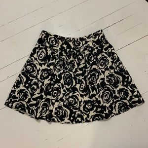 Twentyone Black and white lined mini flare skirt